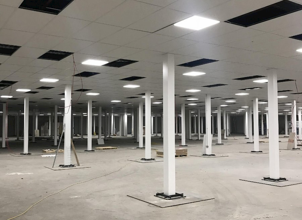 fire rated column casings and fascia used on mezzanine floor